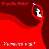 Traditional spanish flamenco. Woman in red dress is dancing.  Stock Photography