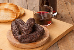 Morcilla with wine Stock Photo