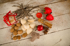 Traditional Spanish Christmas mantecados and sweet nuts Royalty Free Stock Image