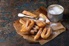 Traditional spanish churros with sugar Royalty Free Stock Photography