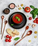 Traditional Spanish cold tomato soup gazpacho in a bowl on stone background. Traditional Spanish food. Concept of Spanish cold sou. P made of ripe tomatoes. Copy royalty free stock photo