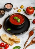 Traditional Spanish cold tomato soup gazpacho in a bowl on stone background. Traditional Spanish food. Concept of Spanish cold sou. P made of ripe tomatoes. Copy royalty free stock photography
