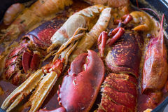 Traditional Spanish dish with crabs Royalty Free Stock Image