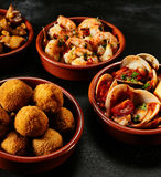 Traditional Spanish fried seafood and tapas Royalty Free Stock Images
