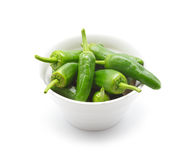 Traditional spanish green peppers. Pimientos de padron. Stock Images