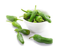 Traditional spanish green peppers. Pimientos de padron. Royalty Free Stock Photo