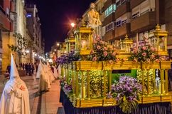 Traditional Spanish Holy Week procession in Palencia. PALENCIA, SPAIN - MARCH 24, 2016: Traditional Spanish Holy Week procession on Holy Thursday night in the stock photo
