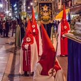 Traditional Spanish Holy Week procession in Palencia. PALENCIA, SPAIN - MARCH 24, 2016: Traditional Spanish Holy Week procession on Holy Thursday night in the royalty free stock photography