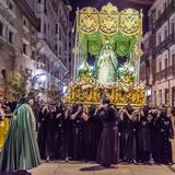 Traditional Spanish Holy Week procession in Palencia. PALENCIA, SPAIN - MARCH 24, 2016: Traditional Spanish Holy Week procession on Holy Thursday night in the royalty free stock images
