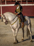 Traditional Spanish horse riding. Alhama de Granada, Spain - 9th September 2016: Traditional Spanish horse riding during a fiesta Royalty Free Stock Image
