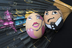 Traditional Spanish lady and gentleman egg face Stock Photography