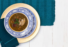 Traditional spanish lentils and sausage stew with pork Royalty Free Stock Photography