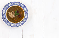 Traditional spanish lentils and sausage stew with pork Royalty Free Stock Image