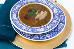 Traditional spanish lentils and sausage stew with pork Stock Images