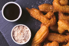 Traditional Spanish and Mexican dessert churros with hot chocola Stock Photography