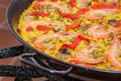 Traditional spanish paella cooked in a pan Stock Photos