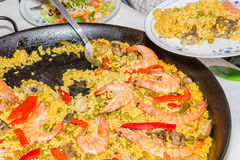 Traditional spanish paella cooked in a pan Royalty Free Stock Photos