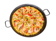 Traditional spanish paella cooked in a pan Stock Photo