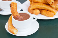 Traditional spanish pastry - churros Stock Photos