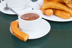 Traditional spanish pastry - churros Royalty Free Stock Image