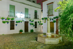 Traditional Spanish patio in Cordoba. Flowers in a flowerpot on the white walls and a fountain in a traditional Spanish patio at night. Andalusia. Spain stock photo