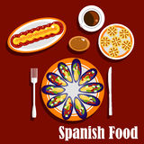 Traditional spanish seafood dishes and drinks Stock Image