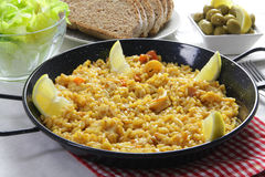 Traditional spanish seafood paella Stock Image