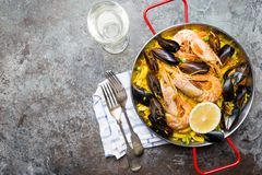 Traditional seafood paella royalty free stock photo