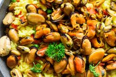 Traditional spanish seafood paella in pan rice, peas, shrimps, mussels, squid on light grey concrete background. Top Stock Photo
