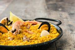 Traditional spanish seafood paella Stock Photos