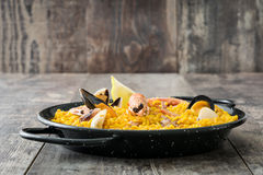 Traditional spanish seafood paella Stock Photo