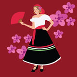 Traditional spanish spain costume iypsy girl woman wearing dress white black Royalty Free Stock Images