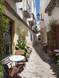Traditional Spanish Street With Cafe Stock Images