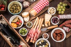 Traditional spanish tapas for sharing with friends Royalty Free Stock Photos
