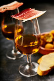 Traditional Spanish tapas with sherry aperitif Stock Photography