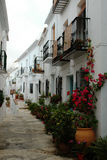Traditional Spanish white village of Frigiliana Stock Photos