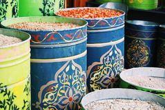 Traditional spice stall in the market Stock Photos