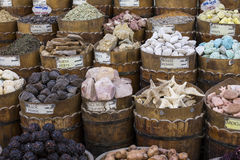 Traditional spices bazaar with herbs and spices in Aswan, Egypt. Stock Photography