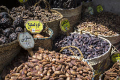 Traditional spices bazaar with herbs and spices in Aswan, Egypt. Royalty Free Stock Photography