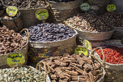 Traditional spices bazaar with herbs and spices in Aswan, Egypt. Stock Photo
