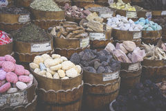 Traditional spices bazaar with herbs and spices in Aswan, Egypt. Royalty Free Stock Image