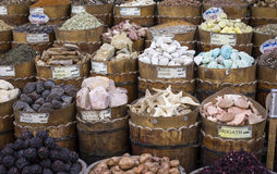 Traditional spices bazaar with herbs and spices in Aswan, Egypt. Stock Images