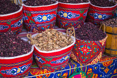 Traditional spices bazaar with herbs and spices in Aswan, Egypt. Royalty Free Stock Images