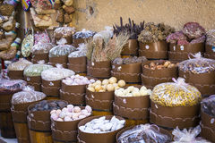 Traditional spices bazaar with herbs and spices in Aswan, Egypt. Royalty Free Stock Photo