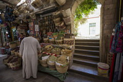 Traditional spices bazaar with herbs and spices in Aswan, Egypt. Royalty Free Stock Photos