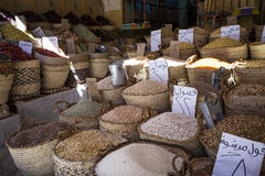 Traditional spices bazaar with herbs and spices in Aswan, Egypt. Stock Image