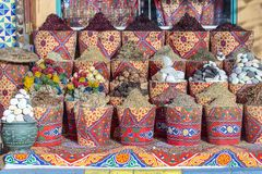 Traditional spices bazaar with herbs and spices in street old market in Sharm El Sheikh, Egypt. Close up Stock Photo