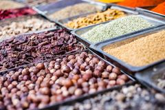Traditional spices market in India. Stock Photos