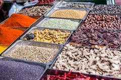 Traditional spices market in India. Royalty Free Stock Image