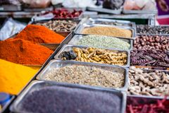 Traditional spices market in India. Royalty Free Stock Photo